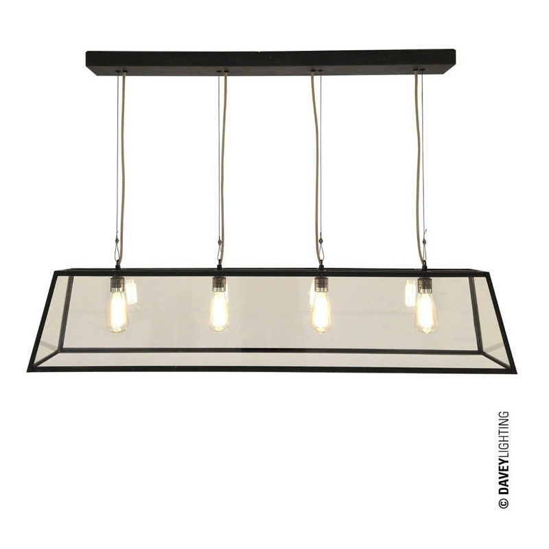 Diner Linear Weathered Brass Pendant Davey Lighting Original BTC