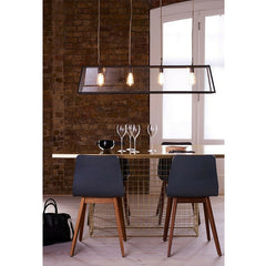 Diner Linear Weathered Brass Pendant over Dining Table Davey Lighting Original BTC
