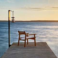 Djurö Lounge Chair with Marstrand Candle Lantern by Skargaarden