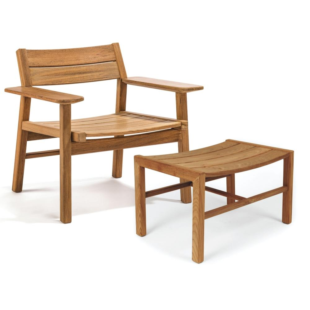 Djurö teak lounge chair and stool by skargaarden