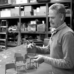 Don Chadwick with his Spark Side Chair models for Knoll