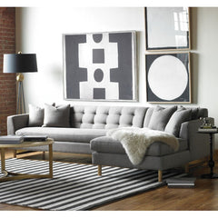 Precedent Furniture Keaton Sectional Light Grey in Room