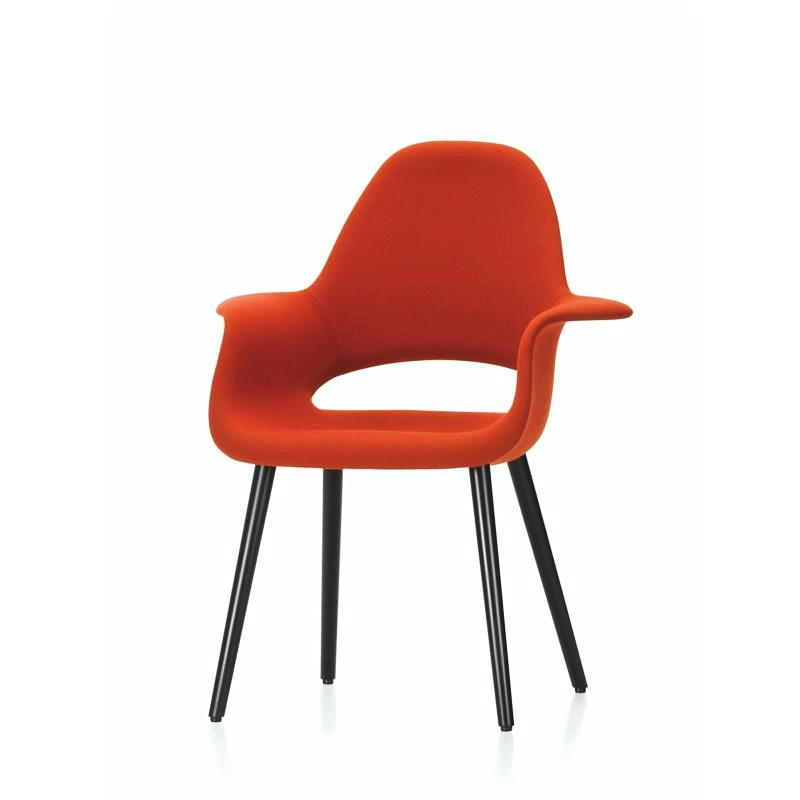 Charles and Ray Eames Organic Chair Poppy Red with Black Legs Front Vitra