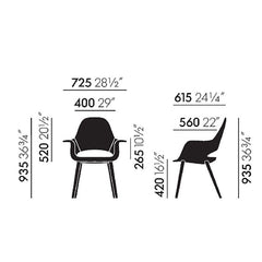 Charles and Ray Eames Organic Chair Size Specifications Vitra