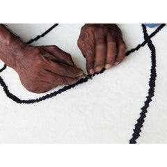 Eduardo Chillida Figura Humana Rug Being Made Hand Knotted Wool Detail