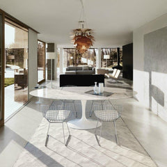 Eero Saarinen Oval Dining Table in Situ with Bertoia Chairs and Artichoke Lamp Knoll