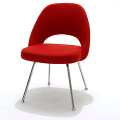 Saarinen Executive Armless Chair Classic Boucle Red Chrome Legs Knoll