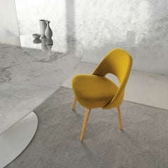 Yellow Saarinen Executive Armless Chair at Marble Pedestal Table Knoll