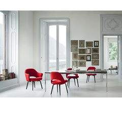 Red Saarinen Executive Chairs with Wood Legs in Europe Knoll