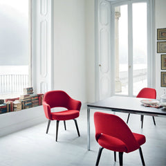 Red Saarinen Executive Arm Chair in situ Lake Como Knoll