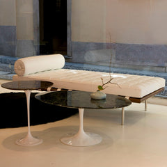 Eero Saarinen Pedestal Tables with Barcelona Couch Knoll