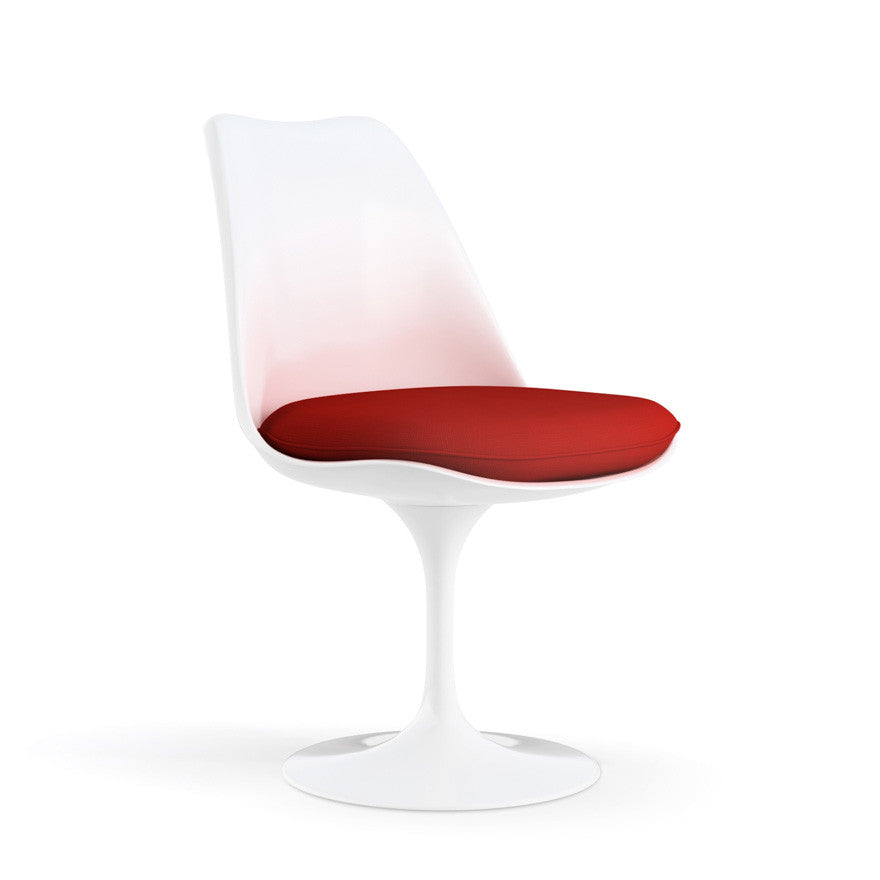 Eero Saarinen Tulip Side Chair Red Cushion Angled Knoll