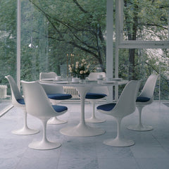 Eero Saarinen Tulip Dining Chairs Blue Cushions Glass Porch Knoll