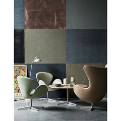Egg and Swan Chairs Natural Leather Pale Green Wool Arne Jacobsen Fritz Hansen
