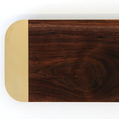 Elijah Leed Barge Serving Board Walnut and Brass Top View