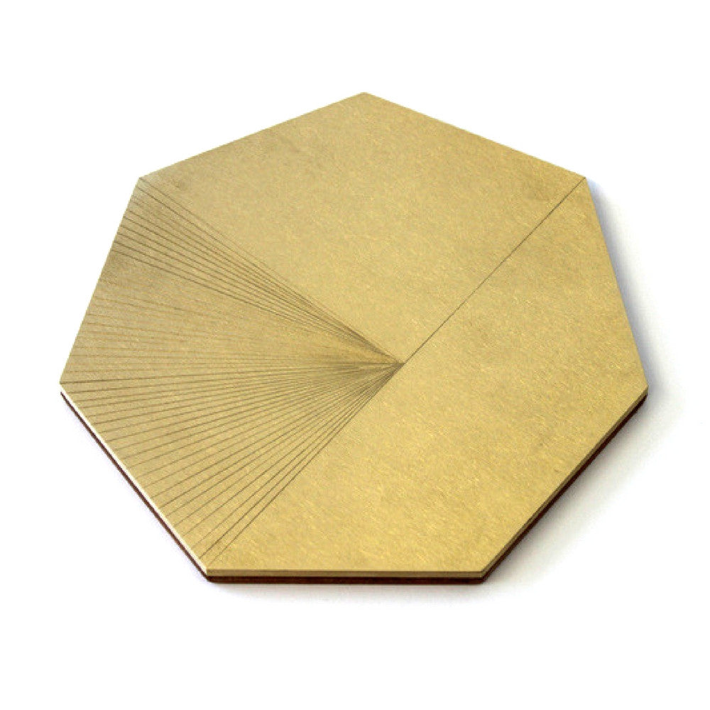Field Trivet by Elijah Leed Brass and Leather Heptagon