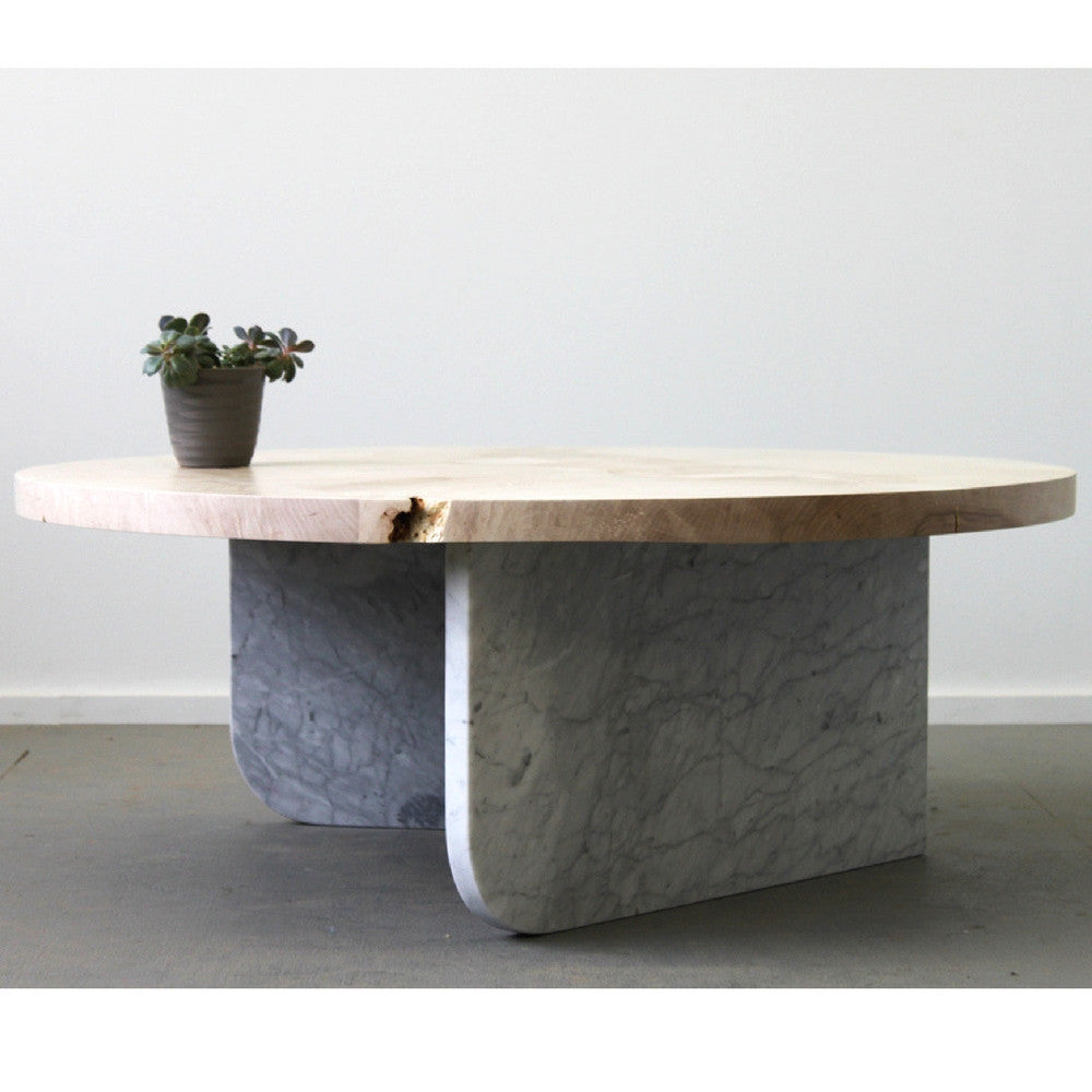 Elijah Leed Furniture Ibsen Coffee Table Carrara Marble Base Bleached Maple Top