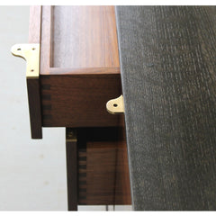 Elijah Leed Furniture Watson Credenza Dovetailed Walnut Drawers and Brass Pulls Detail