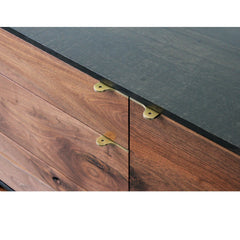 Elijah Leed Furniture Watson Credenza Darkened Brass Pulls and Walnut Front Detail