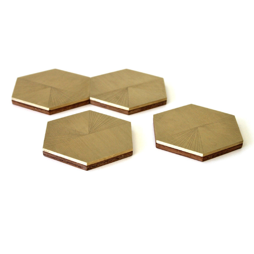 Brass and Leather Hexagon Coasters hand etched by Elijah Leed