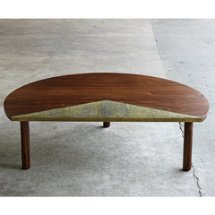 Elijah Leed Pauling Low Table Walnut and Etched Brass Side View