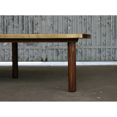 Elijah Leed Pauling Low Table Walnut and Etched Brass Leg Detail