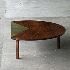 Elijah Leed Pauling Low Table Walnut and Etched Brass
