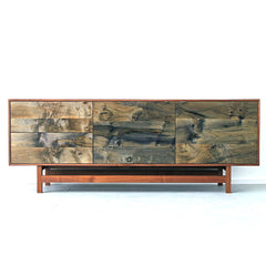 Elijah Leed Watson Credenza Walnut and Oxidized Spalted Maple