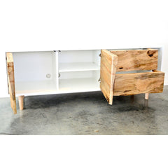 Enkle Designs Elv Media Console Spalted Maple and White Lacquer Open Doors and Drawers