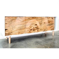 Enkle Designs Elv Media Console Spalted Maple and White Lacquer Angled