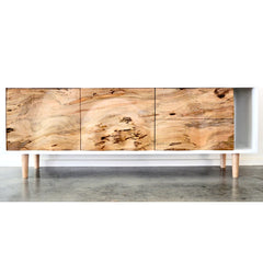 Enkle Designs Elv Media Console Spalted Maple and White Lacquer