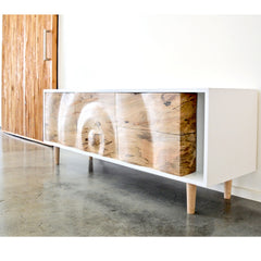 Enkle Designs Elv Media Console Spalted Maple Ripple Detail with Barn Door