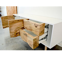 Enkle Designs Elv Media Console Spalted Maple and White Lacquer Open Doors and Drawers Angled