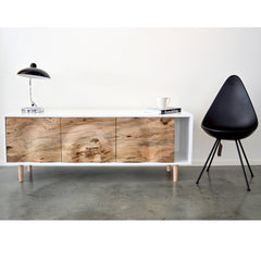 Enkle Designs Elv Media Console Spalted Maple and White Lacquer with Arne Jacobsen Drop Chair and Kaiser Idell Lamp