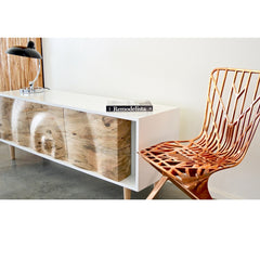 Enkle Designs Elv Media Console Spalted Maple and White Lacquer with Copper David Adjaye Washington Skeleton Chair