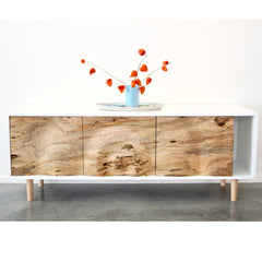 Enkle Designs Elv Media Console Spalted Maple and White Lacquer with Haand Vase and Japanese Lanterns