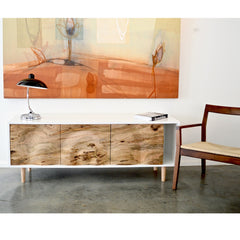 Enkle Designs Elv Media Console with Marc Krusin Walnut Chair and Michael Barringer Painting