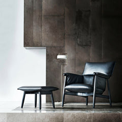Eoos Black Leather EOOS Embrace Lounge Chair and Ottoman in Room Carl Hansen and Son