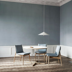 EOOS EO04 Embrace Dining Chairs in room with Embrace dining table and pendant light Carl Hansen and Son