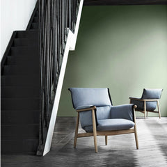 Eoos EOOS Embrace Lounge Chairs in Green Room with Stairs Carl Hansen and Son