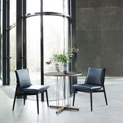 EOOS Embrace Dining Chairs in Black Thor Leather with Black Oak Frame Carl Hansen and Son