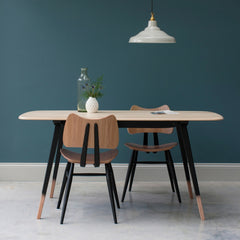 Ercol Originals Plank Table in room with Butterfly Chairs