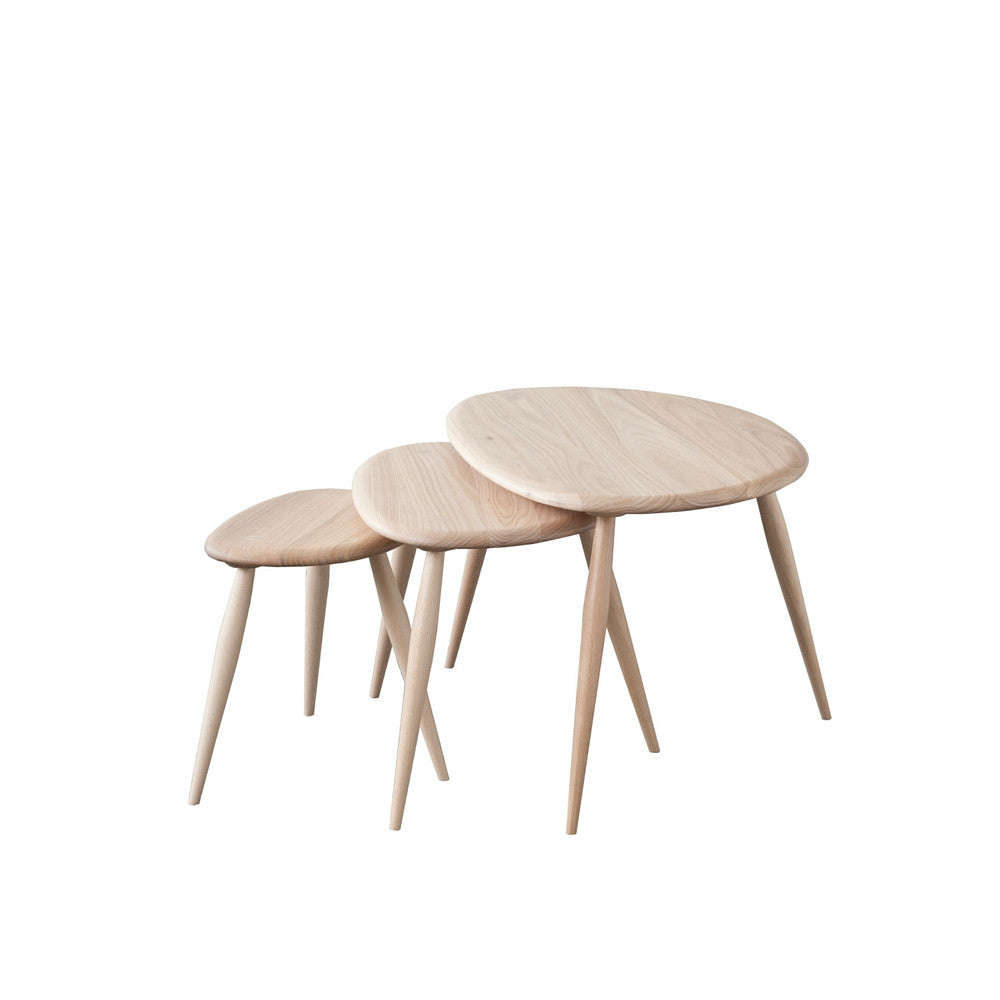 Ercol nest of tables with a clear matte finish