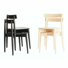 ercol Lara Chairs Stacked in Pairs Natural and Black Ash