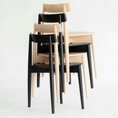 ercol Lara Chairs Stacked Natural and Black Ash