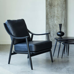 Ercol Marino Chair All Black with Originals Nest of Tables