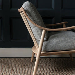 Ercol Marino Chair Ash Frame Grey Upholstery Profile in Room