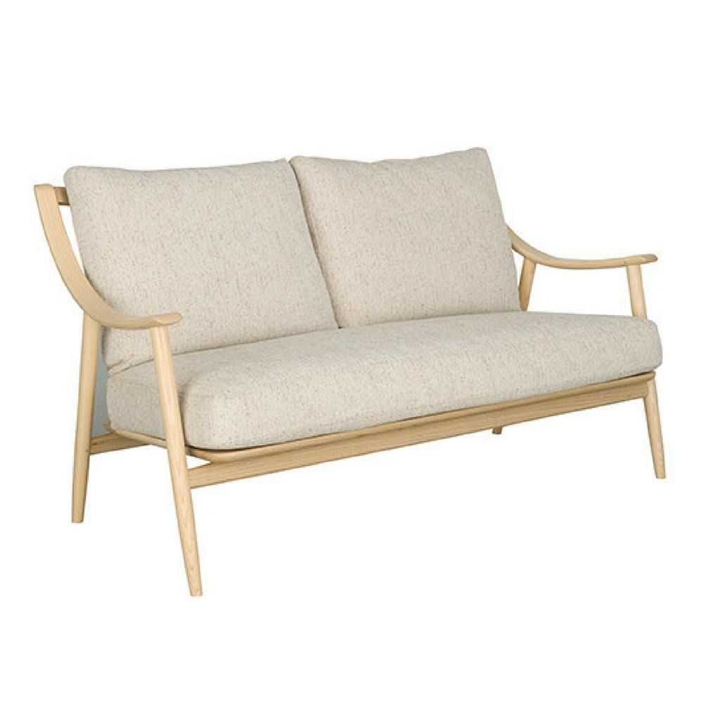 Ercol Marino Sofa Taupe Linen with Solid Timber