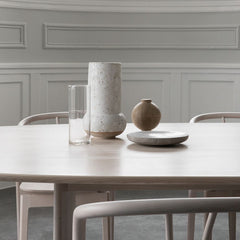 ercol Pennon Table by Norm Architects Ash Detail in room with Flow Chairs