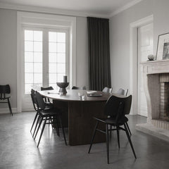 Ercol Black Butterfly Chairs in Dining Room with Walnut Pennon Dining Table